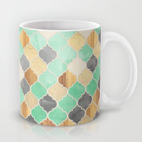 Charcoal, Mint, Wood & Gold Moroccan Pattern Mug by Micklyn