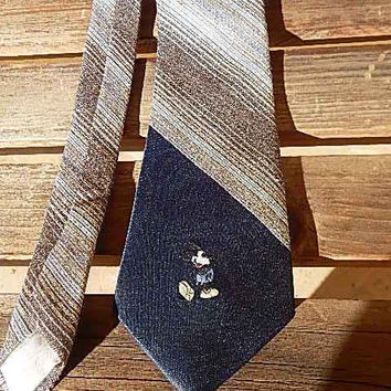 ON SALE Mickey Mouse, Necktie, Vintage Tie, Vintage Necktie, Mickey Mouse Tie, Mens Necktie, Brown, Retro Tie, Mens Fashion, Mens Accessorie