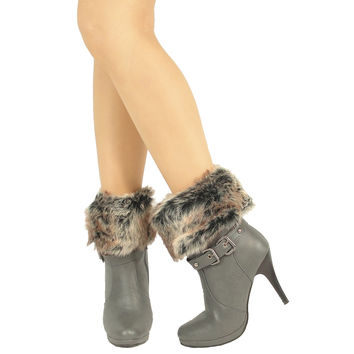 Womens Ankle Boots Faux Fur Foldover Cuff High Heels Gray SZ