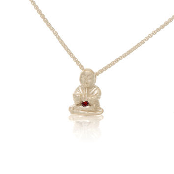 Sterling Silver Garnet Peaceful Buddha Pendant Necklace Love Light Compassion Foundation Buddha Buddies