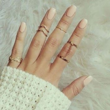new 6pcs Stacking  Finger Knuckle rings Charm Ring Set