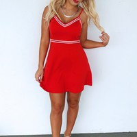 Sweeter With Time Dress: Red/White