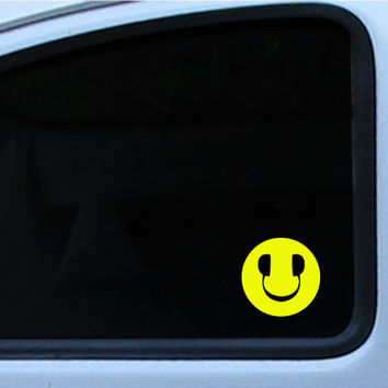 "DJ Smiley Face Die cut decal/sticker 3""  DJ LP Record spin"