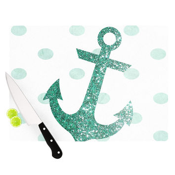 "Nika Martinez ""Glitter Anchor in Mint"" Teal Cutting Board"