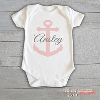 Baby Onesuit - Anchor Nautical Monogram Personalized Customized Baby Name Initials