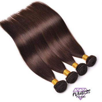 4 Bundles of Dark Brown Brazilian Silky Straight Hair Extensions