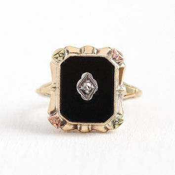 Vintage Onyx Ring - 10k Rose & Yellow Gold Diamond Black Gem Statement - 1940s Size 5 3/4 Flower Gemstone Three Tone Fine Square Jewelry