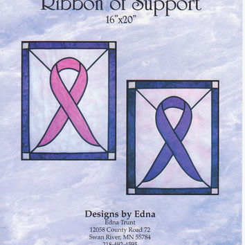 Pattern for Stained Glass Ribbon of Support quilted wall hanging 16 x 20 inches by Edna Trunt fusible web + fusible bias tape method UNCUT