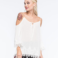 Blu Pepper Lace Cold Shoulder Womens Top Ivory  In Sizes