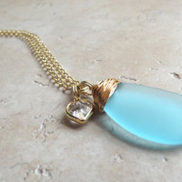 Valentine Heart Charm Necklace:  Turquoise Blue Sea Glass Gold Wire Wrapped Beach Jewelry, Under 40