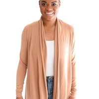 Chilly Nights Cardigan In Camel
