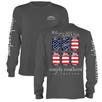 Simply Southern Tees Long Sleeve T-Shirt, Bless Your Heart & The USA