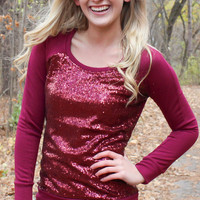 Holiday Sequined Top - Cranberry