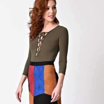 1970s Style Multicolor Patchwork Suede Pencil Skirt