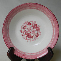 Vintage Pink Red Transferware  Roses Deep Plate / Shallow Soup Bowl