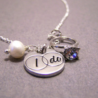 I Do Engagement Ring Freshwater Pearl Engagement Necklace / Gift for Her