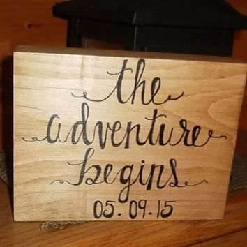 The Adventure Begins Personalized Date Rustic Sign, Rustic Wedding Decoration, Bridal Shower Decor, Rustic Home Decor, Country Wedding Sign