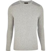 River Island MensLight grey rib shoulder patch sweater