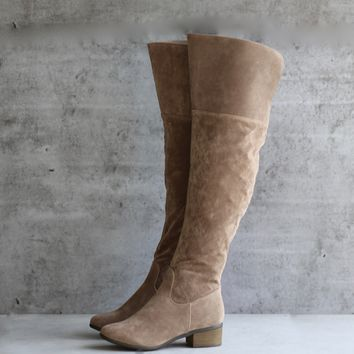 beige vegan suede over the knee boots