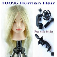 "18""-26"" Hairdressing Head Blonde and Brown Mannequin Head with 100% Human Hair Training Practice Training Head Mannequin Manikin"