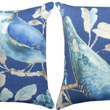 "Indigo and Blue Birds Reversible Indoor Throw Pillows (Set of 2, 18"")"