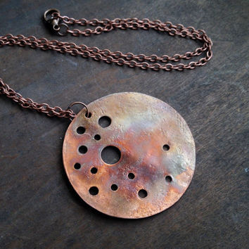 Copper Moon Necklace - Moon Charm Necklace  - Round Copper Pendant on Chain - Boho - Hippie Necklace