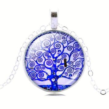 Tree Of Life Glass Cabochon Pendant, Vintage Silver Color Chain Necklace