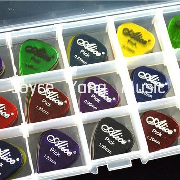100pcs Alice Clear Transparent Acoustic Electric Guitar Picks Plectrums+1 Large Plastic Picks Holder Case Box Free Shipping