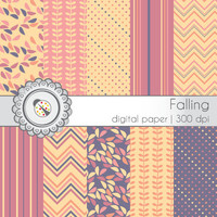 Falling - Digital Paper Pack -  12x12 in., 300dpi, JPG, download, Personal Use, ES0026