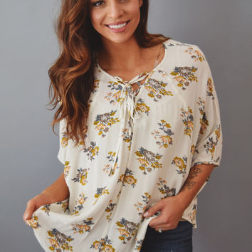 Laurel Printed Lace Up Top