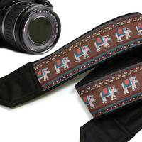 Lucky Elephants Camera Strap. Ethnic Camera Strap,  Accessories.