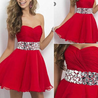 Short Red Homecoming Dress,Chiffon Junior Homecoming Dress