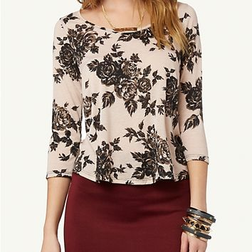 Rose Jersey Zip Back Top | Fashion | rue21