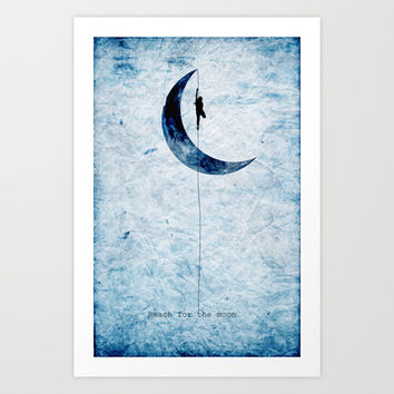 "Moon ""Reach for the moon"" Art Print by Nostromo"