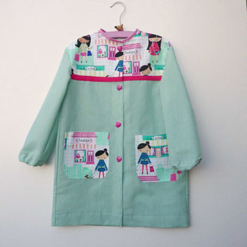 School smock PDF Pattern mod. Basic sizes 2 3 4 5 6 7 years , art smock, INSTANT DOWNLOAD, school uniform,