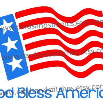American Flag God Bless America Digital Cutting File (SVG, DXF, JPG)