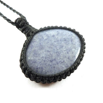 Chalcedony necklace, macrame jewel, blue chalcedony, perseverance necklace, statement jewelry, Cancer healing, Gemini choker, Libra crystal