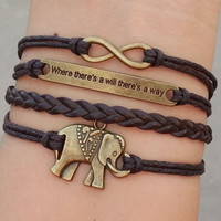 "infinity bracelet,elephant bracelet, ""Where there is a will, there is a way"", Christmas gift - Best Chosen Gift"