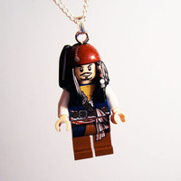 Jack Sparrow Pirates of the Caribbean minifig necklace in gift box