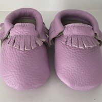 Lavender Leather Baby Moccasins |Baby Moccs | Trendy Kids Clothing