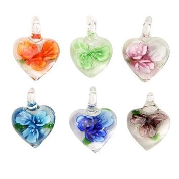 BodyJ4You Necklace Pendant Glass Lot Heart Floral Glow in the Dark