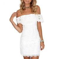 DS289 Women Backless Off Shoulder White Fringe Lace Crochet Hollow Out Mini Bodycon Dress Beach Evening Party Dress Vestidos New