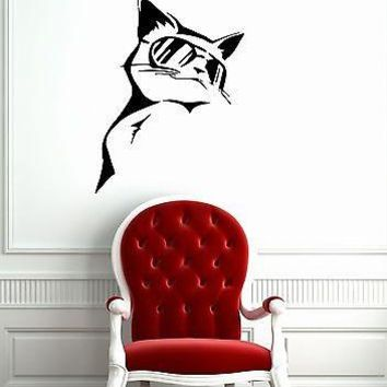Wall Stickers Vinyl Decal Funny Cat in Glasses Animals Pets Unique Gift ig1478