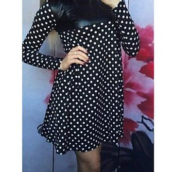 Faux Leather Insert Polka Dot Skater Dress - Long Sleeve / Black White