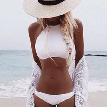 hot pure color high neck white two piece bikinis