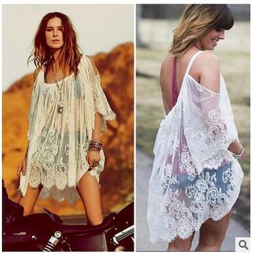 2017 Newly Summer Sexy Lace Sling Swimsuit Cover Up Bat Sleeve Hollow out Strapless Beach Dress Chiffon Perspective Bathing Suit