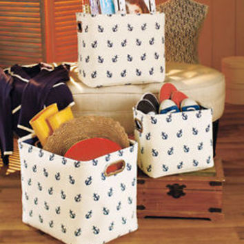 Set of 3 Anchor Printed Fabric Storage Baskets Nautical Theme Laundry Magazine