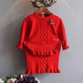 DreamShining Kids Clothes Sweet Baby Girls Dress Children Clothing Sets Knitted Sweater Skirt Suit Toddler Costume Girl Coats