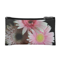 Three Pink Pastel daisies Makeup Bag