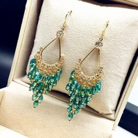 2017 new statement crystal beads long earrings for women bijoux elegant ethnic jewelry trendy all match